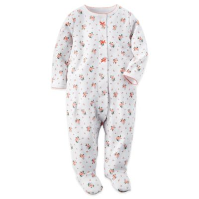 Carter's® Size 6M Snap-Front Floral Footie in White