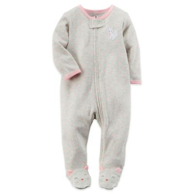 Carter's® Newborn Cat Zip-Front Footie in Grey/Pink