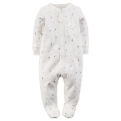 Carter's® Size 3M Jungle Animal Print Snap-Front Footie in Ivory