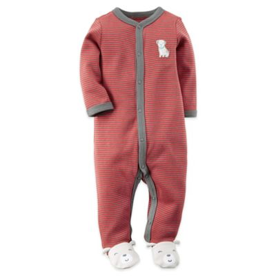 Carter's® Size 6M Snap-Front Dog Footie in Red Stripe/Grey
