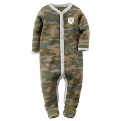 Carter's® Size 6M Snap-Front Camo Footie in Green
