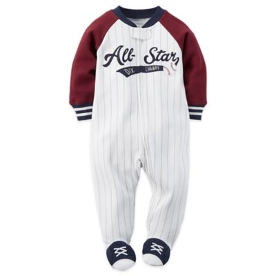 Carter's® Size 6M Pinstripe Allstar Zip-Front Footie in White/Navy/Red