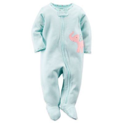 Carter's® Size 9M Elephant Zip-Front Footie in Turquoise Stripe/Pink