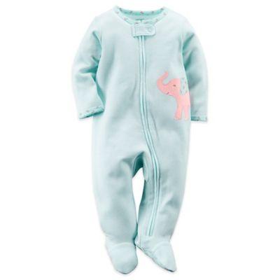 Carter's® Newborn Elephant Zip-Front Footie in Turquoise Stripe/Pink