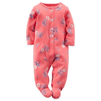 Size 6M Snap-Front Floral Footie in Pink