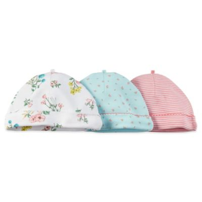 Carter's® Size 0-3M 3-Pack Floral/Stripe Cap in Coral/Turquoise