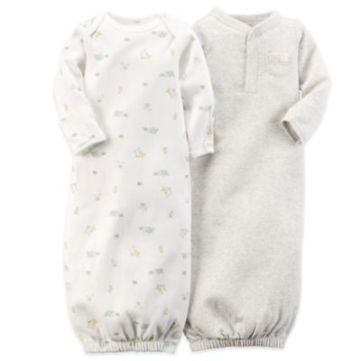 Carter's® 2-Pack Animals Gown in Ivory/Heather