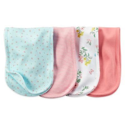 Carter's® 4-Pack Floral/Stripe Burp Cloths in Coral/Turquoise