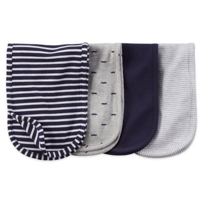 Carter's® 4-Pack Mustache/Stripe Burp Cloth in Navy/Grey