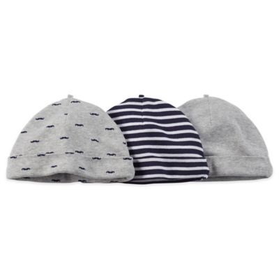 Carter's® 3-Pack Mustache/Stripe Cap in Navy/Grey