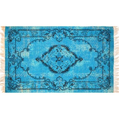 Artisan Printed 2-Foot 6-Inch x 4-Foot Medallion Scatter Rug in Aqua Blue