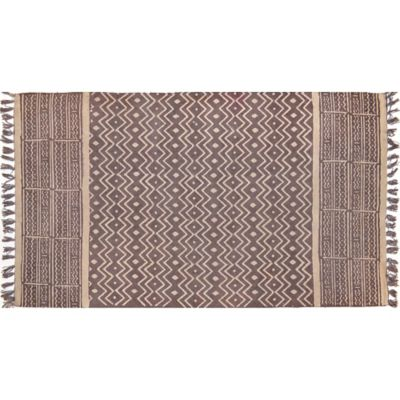 2-Foot 6-Inch x 4-Foot Artisan Printed Aztec Accent Rug in Taupe/Grey