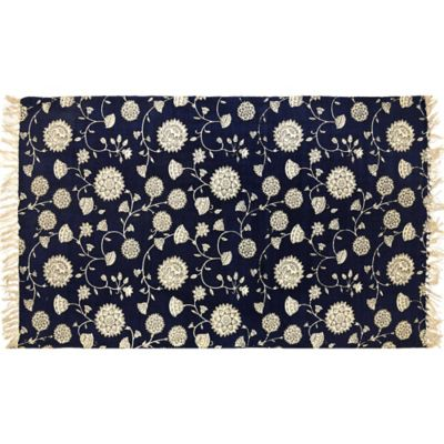 Artisan Printed 2-Foot 6-Inch x 4-Foot Floral Accent Rug in Navy