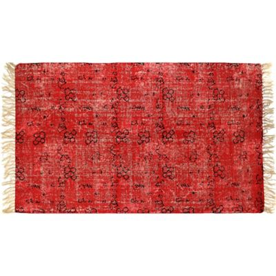 2-Foot 6-Inch x 4-Foot Artisan Printed Accent Rug in Red