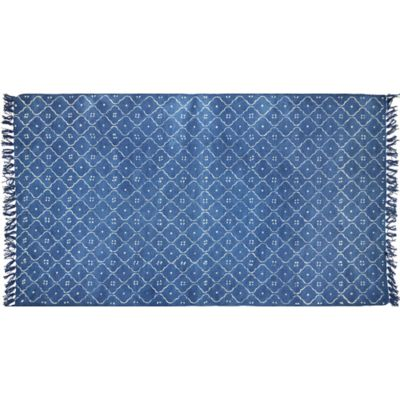 2-Foot 6-Inch x 4-Foot Artisan Printed Scatter Mat in Blue