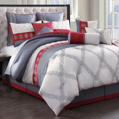 Reeba 10-Piece Reversible Queen Comforter Set in Ivory/Red