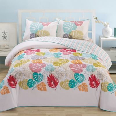 Leaf Organic Cotton Reversible Full/Queen Duvet Cover Set in Multi