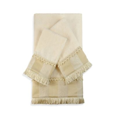 Austin Horn Classics Catherine Embellished Bath Towels in Ecru (Set of 3)