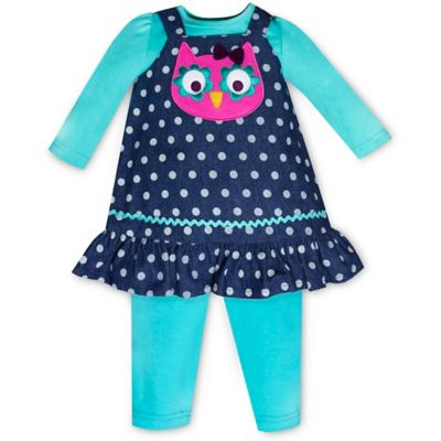 Baby Essentials Size 6M 3-Piece Denim Owl Jumper, Top, and Pant Set in Navy/Teal