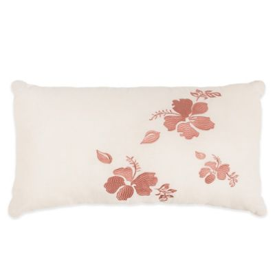Caribbean Joe Hibiscus Oblong Throw Pillow in White