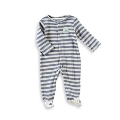 "Sterling Baby Size 3M ""Little Peanut"" Yarn-Dyed Striped Terry Footie in Grey/White"