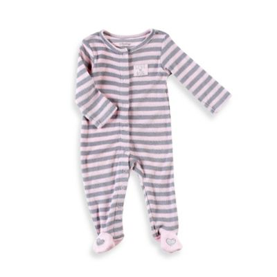 "Sterling Baby Size 6M ""Love Bug"" Yarn-Dyed Striped Terry Footie in Pink/Grey"