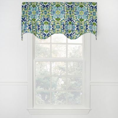 Folk Scalloped Damask Bliss Valance in Blue