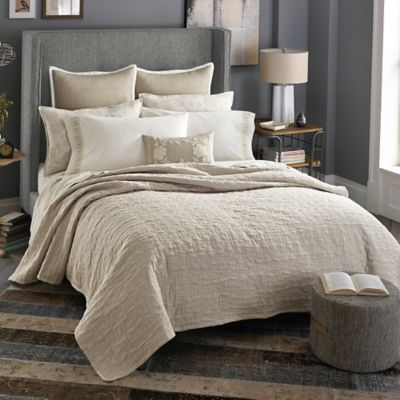 Beekman 1802 Stillwater Double Cloth King Quilt in Linen
