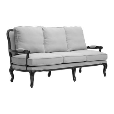 Baxton Studio Antoinette Classic Antiqued French Sofa and Loveseat in Grey/Beige