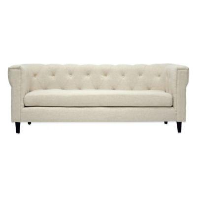 Baxton Studio Cortland Linen Modern Chesterfield Sofa in Beige