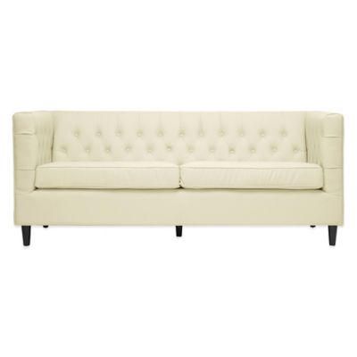 Darrow Modern Leather Loveseat in Cream