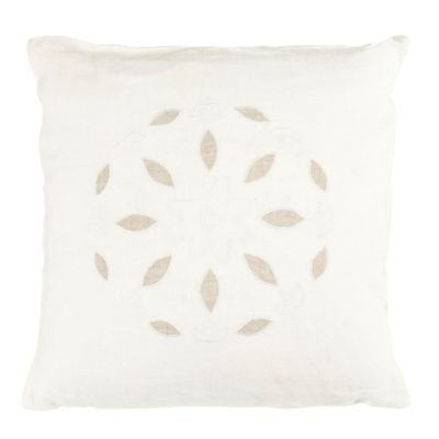 Beekman 1802 Stillwater Eyelet Square Throw Pillow in White