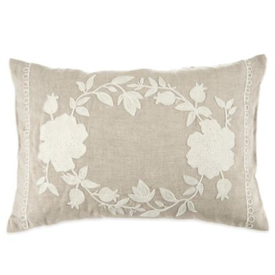 Beekman 1802 Stillwater Crewel Oblong Throw Pillow in Natural