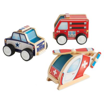 Guidecraft 3-Pack Jr. Plywood Community Vehicles