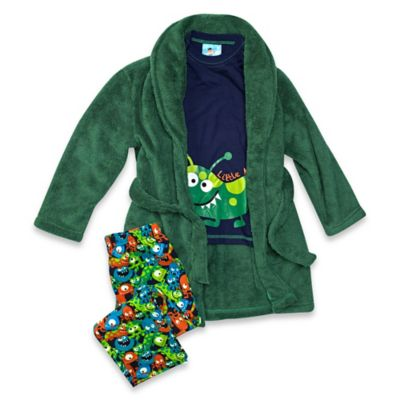 Baby Buns Little Monster Size 12M 3-Piece Robe and Pajama Set in Green