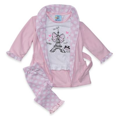 Baby Buns Paris Size 12M 3-Piece Robe and Pajama Set in Pink