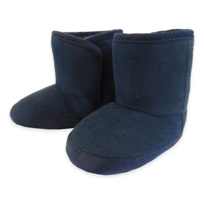 Rising Star Boys' Size 1 Suede and Sherpa Boot in Navy