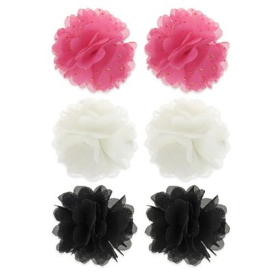 Capelli New York Chiffon Flower Hair Clips in Pink/White/Black