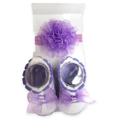 So'Dorable Ballerina Flower Headwrap and Bootie Set in Purple