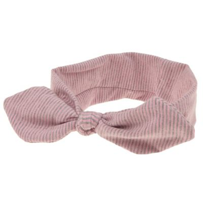 Capelli New York Infant Striped Knot Jersey Head Wrap in Pink/Grey