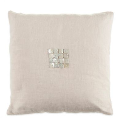 Beekman 1802 Bellvale Button Square Throw Pillow in Beige