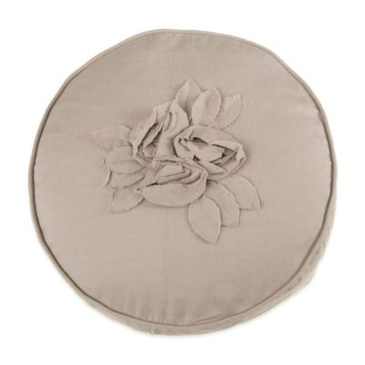 Beekman 1802 Bellvale Flower Round Throw Pillow in Beige
