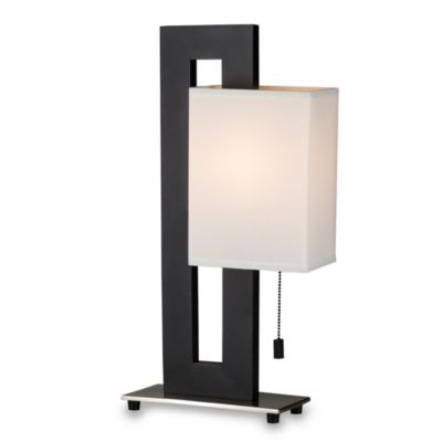 Lite Source Modern Black Table Lamp with White Shade