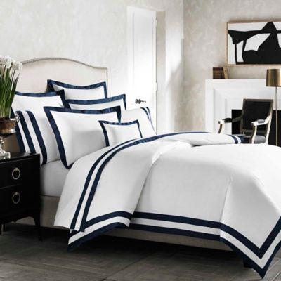 Kassatex Amalfi Italian-Made Standard Pillow Sham in White/Navy