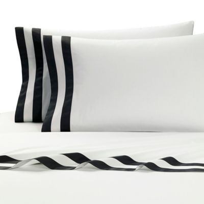 Kassatex Amalfi Italian-Made Standard Pillowcases in White/Grey (Set of 2)