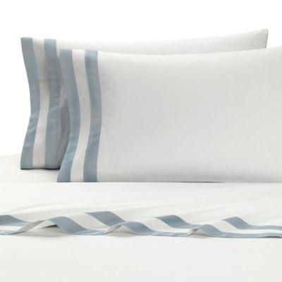 Kassatex Amalfi Italian-Made King Flat Sheet in White/Light Blue