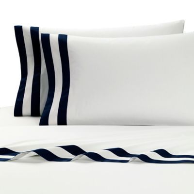 Kassatex Amalfi Italian-Made King Flat Sheet in White/Navy