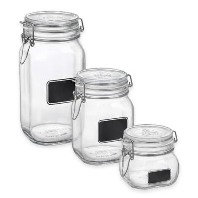 Bormioli Rocco Fido Square Chalk 33.75 oz. Label Jar