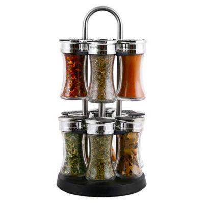 Orii™ Gourmet Stainless Steel 12-Jar Revolving Spice Rack