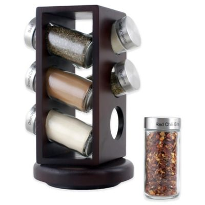 Orii™ Gourmet Wood Lazy Susan 6-Jar Spice Rack in Brown